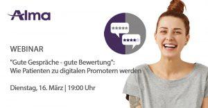 """Live-Webinar: """"Gute Gespräche - gute Bewertung"""": Wie Patienten zu digitalen Promotern werden. WH"""